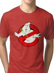 Who Busts The Ghost Busters? (logo) v3 Tri-blend T-Shirt