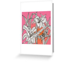 Daylilies on Pink and Orange Background Greeting Card