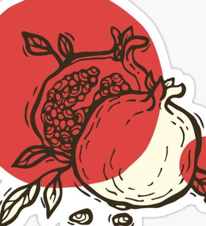 Pomegranates linocut Sticker