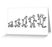 HARING EVOLVES (black) by Tai's Tees Greeting Card