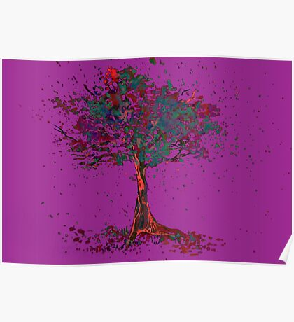 Watercolor of autumn tree Poster