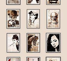 Calendar old book drawing famous people by Krzyzanowski Art