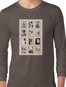 old book drawing famous people cal Long Sleeve T-Shirt