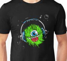 monster grün musik kopfhörer trendy zyklop flauschig Unisex T-Shirt