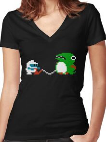 Dig Dug Women's Fitted V-Neck T-Shirt