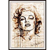 old book drawing marilyn monroe Photographic Print