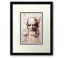 old book drawing famous people cal Framed Print