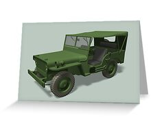 Green Willys MB Jeep Greeting Card