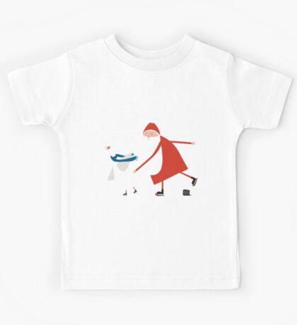 Weihnachtsmann auf Schlittschuhen Kids Tee