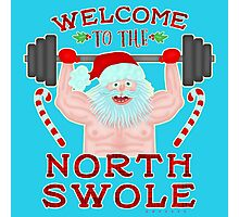 Funny Christmas Santa Claus North Swole Weightlifter Photographic Print