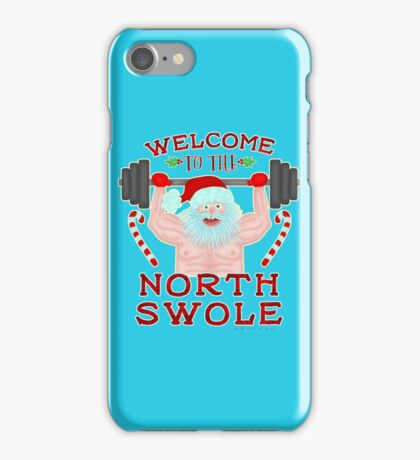 Funny Christmas Santa Claus North Swole Weightlifter iPhone Case/Skin