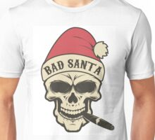"""Portrait of Santa Claus in a grunge style with the inscription on the cap, """"Bad Santa."""" Unisex T-Shirt"""