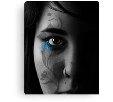 Half female face with transfer Canvas Print