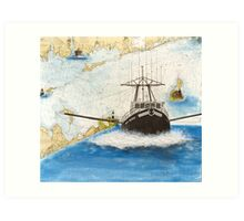 MISS MERNA Trawl Fish Boat Cathy Peek Nautical Chart Map Art Print