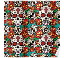 Seamless pattern with sugar skulls and roses. Day of the Dead. Poster