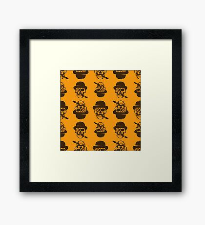 Seamless pattern from Skull with cigar.  Framed Print