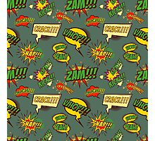 Seamless pattern with comic style phrases Photographic Print