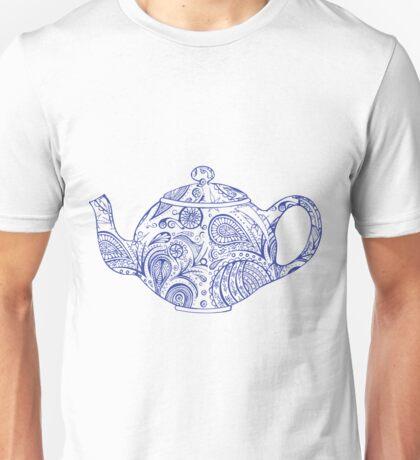 Paisley Patterned Teapot - Blue Unisex T-Shirt