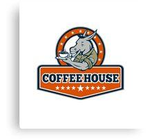 Army Sergeant Donkey Coffee House Cartoon Canvas Print