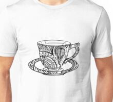 Paisley Patterned Cup and Saucer - B&W Unisex T-Shirt