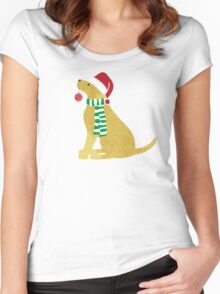 Christmas Yellow Lab Holiday Dog Women's Fitted Scoop T-Shirt