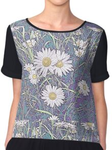 Wildflower Daisies in Field of Purple and Teal Chiffon Top