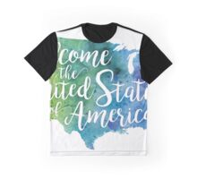 Welcome to the United States of America Hand Lettering - Giclee Print Graphic T-Shirt