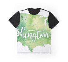 United States of America Watercolor Map - Washington,DC Hand Lettering Graphic T-Shirt