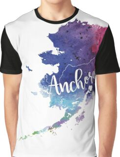Alaska Watercolor Map - Anchorage Hand Lettering - Giclee Print of Original Art Graphic T-Shirt