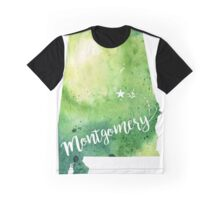 Alabama Watercolor Map - Montgomery Hand Lettering - Giclee Print of Original Art Graphic T-Shirt