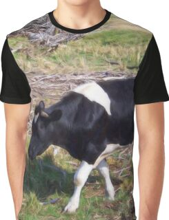 Black and White Calf Graphic T-Shirt