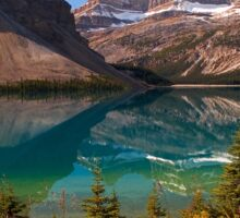 Bow Lake reflection in Fall, Icefields Parkway National Park, Alberta, Canada Sticker