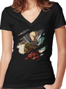 Saitama Genos Tatsumaki Anime Manga Shirt Women's Fitted V-Neck T-Shirt
