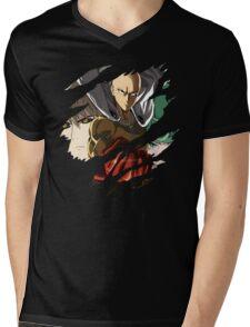 Saitama Genos Tatsumaki Anime Manga Shirt Mens V-Neck T-Shirt