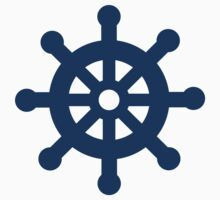 Blue Symbol Ship steering wheel isolated Kids Tee