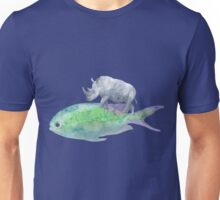 Retro Watercolor Rhino Riding a Fish Unisex T-Shirt