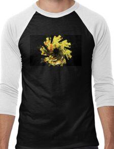 Yellow Flower Spiral Men's Baseball ¾ T-Shirt