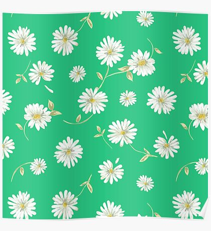 Spoon flowers, white,green,yellow,lime,green,background,modern,trendy,cute,girly Poster