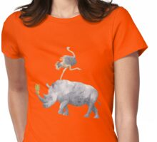 Retro Watercolor Ostrich Balancing on Rhino & Pineapple Womens Fitted T-Shirt