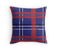 Artist Plaid_ Red and Blue Throw Pillow