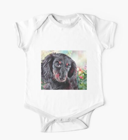 Dachshund Painting  One Piece - Short Sleeve