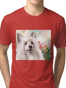 Chinese Crested Painting  Tri-blend T-Shirt