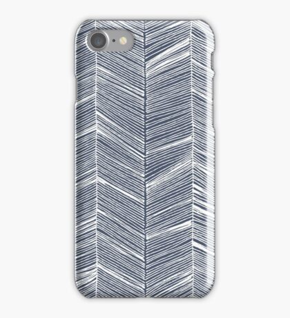 White Herringbone on Navy iPhone Case/Skin