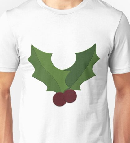 Xmas Holly Berry Christmas Yule Pattern Unisex T-Shirt