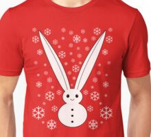Snow bunny and snowflakes red Unisex T-Shirt