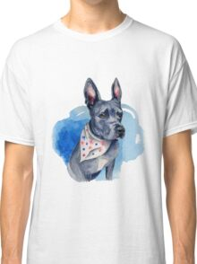 Blue Pit Bull Dog Watercolor Painting Classic T-Shirt