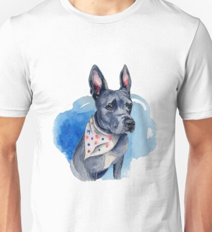 Blue Pit Bull Dog Watercolor Painting Unisex T-Shirt