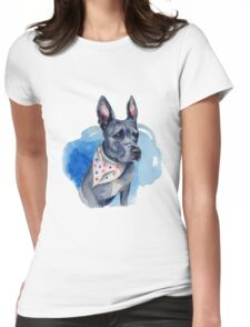 Blue Pit Bull Dog Watercolor Painting Womens Fitted T-Shirt
