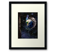 New planet Earth reborn from butterfly cocoon in cosmos art photo print Framed Print