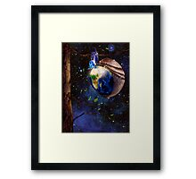 Planet Earth reborn from butterfly cocoon in cosmos artistic concept art photo print Framed Print
